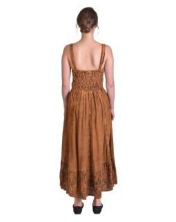 Dlouhé hnědé šaty na ramínka, potisk zelených kvítků, výšivka, vázání
