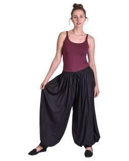 Dlouhé balonónové kalhoty na gumu a šňůrku, černé, bez kapes