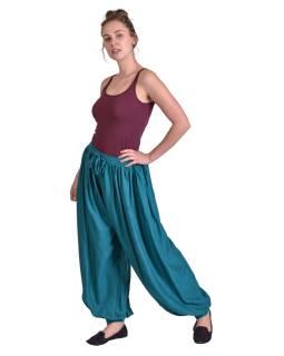 Dlouhé balonónové kalhoty na gumu a šňůrku, smaragdově zelené, bez kapes