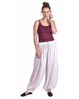 Dlouhé balonónové kalhoty na gumu a šňůrku, sněho-bílé, bez kapes