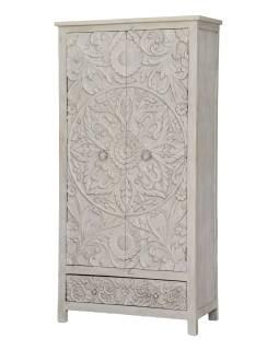 Vyřezávaná skříň z mangového dřeva, ruční práce, bílá, 100x43x200cm