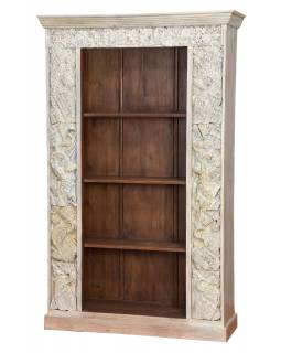 Knihovna z mangového dřeva, staré řezby, 120x44x193cm