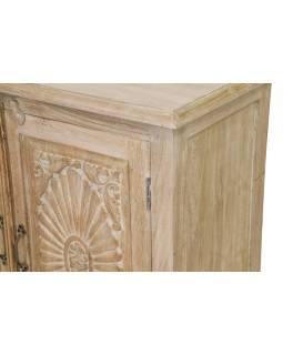 Komoda z antik teakového dřeva, dvířka s ručními řezbami, 180x43x90cm