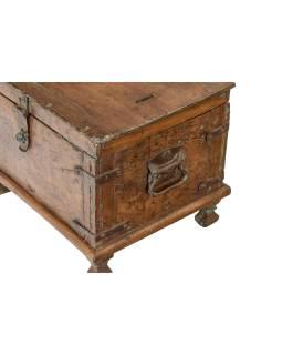 Starožitná tuhlička z teakového dřeva, železné kování, 34x26x26cm