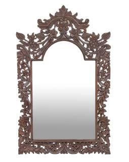 Zrcadlo z teakového dřeva, bohatě vyřezávané, 122x75x3cm