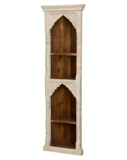 Rohová knihovna z mangového dřeva, ruční řezby, 55x31x180cm