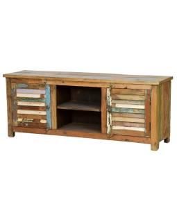 "Komoda pod TV z antik teakového dřeva, ""GOA"" styl, 152x40x60cm"