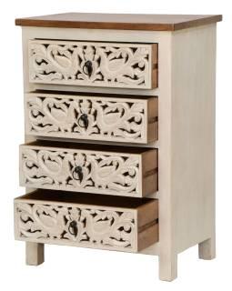 Šuplíková komoda z mangového dřeva, řuční řezby, bílá patina, 64x43x90cm
