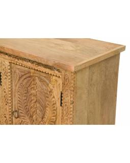 Komoda z mangového dřeva, ručně vyřezávaná, přírodní úprava, 123x40x76cm