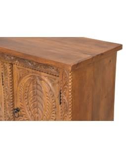 Komoda z mangového dřeva, ručně vyřezávaná, 123x40x76cm