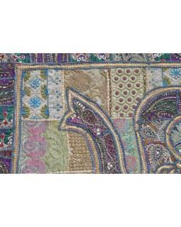 Patchworková tapiserie z Rajastanu, ruční práce, fialový slon, 148x108cm