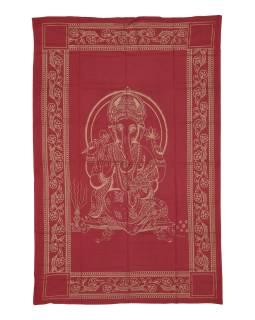 Přehoz s tiskem, červený, zlatý tisk, Ganéš, 205x137cm