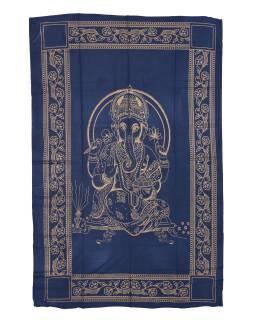 Přehoz s tiskem, modrý, zlatý tisk, Ganéš, 204x140cm