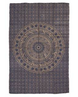 Přehoz s tiskem, modrý, zlatý tisk, Mandala, 204x140cm