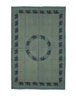 Přehoz s tiskem, zelený, zlato-černý tisk, sloni, 220x150cm