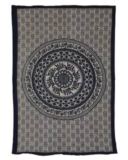 Přehoz s tiskem, Mandala, sloni, béžový, černý tisk, 202x140cm