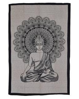 Přehoz s tiskem, Buddha, béžový, černý tisk, 202x140cm