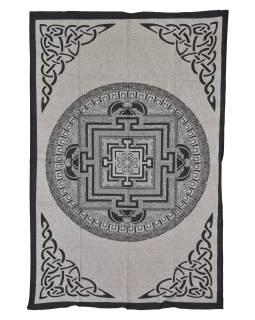 Přehoz s tiskem, Mandala, béžový, černý tisk, 202x140cm