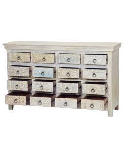 Šuplíková komoda z teakového dřeva, ruční řezby na šuplíkách, bílá, 150x45x85cm