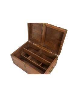 Truhla z teakového dřeva, železné kování, 50x34x22cm