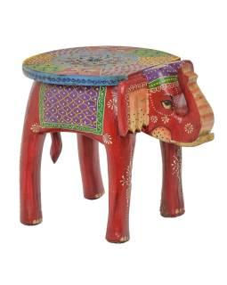 Stolička ve tvaru slona ručně malovaná, červená, 38x28x31cm