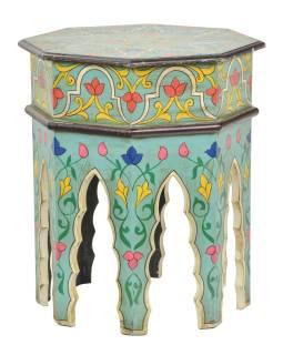 Stolek osmiboký, ručně malovaný, 46x46x53cm
