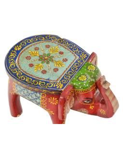 Stolička ve tvaru slona ručně malovaná, červená, 30x19x18cm