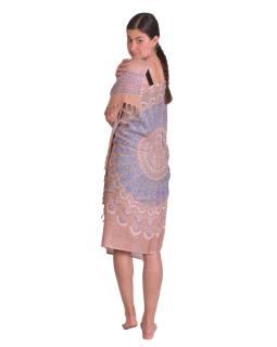 Sárong z viskózy, světle hnědý s barevnou Mandalou, 100x160cm + třásně
