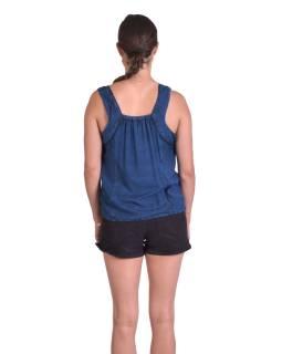 Letní krátký top na ramínka, modrý, ruční výšivka