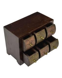 Dřevěná skříňka se 6 šuplíky, tepaná mědí a mosazí, 22x15x17cm