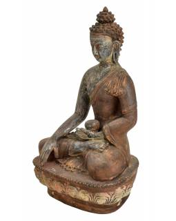 Buddha Šákyamuni, antik patina, keramika, ruční práce, 25cm