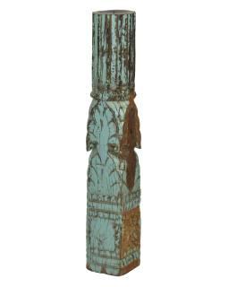 Dřevěný svícen ze starého teakového sloupu, 12x12x71cm