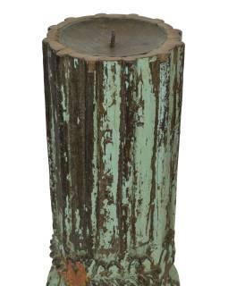 Dřevěný svícen ze starého teakového sloupu, 11x11x71cm