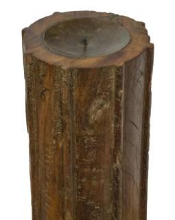 Dřevěný svícen ze starého teakového sloupu, 13x13x61cm