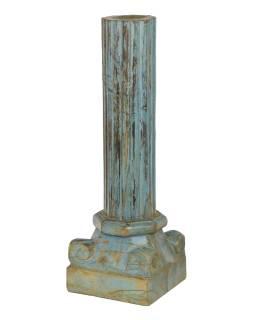 Dřevěný svícen ze starého teakového sloupu, 25x25x76cm