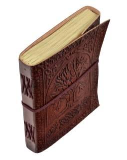 Notes v kožené vazbě, ruční papír, strom života a květ života, 15x20cm
