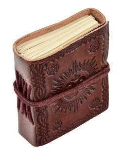 Notes v kožené vazbě, ruční papír, Óm, Mandala, cca 9,5x7,5cm