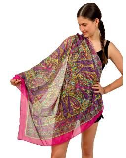 Šátek z umělého indického hedvábí, růžovo-žlutý, paisley potisk 100x100cm