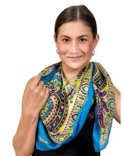 Šátek z umělého indického hedvábí, tyrkysovo-žlutý, paisley potisk 100x100cm