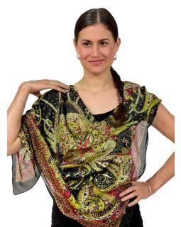 Šátek z umělého indického hedvábí, černo-žlutý, paisley potisk 100x100cm