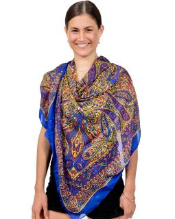 Šátek z umělého indického hedvábí, modro-žlutý, paisley potisk 100x100cm