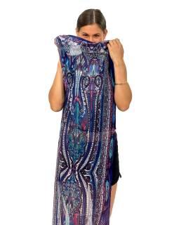 Šátek z umělého indického hedvábí, modro-růžový, paisley potisk 50x180cm