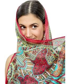 Šátek z umělého indického hedvábí, červeno-oranžový, paisley potisk 50x180cm