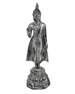 Narozeninový Buddha, pondělí, pryskyřice, stříbrná patina, 25cm