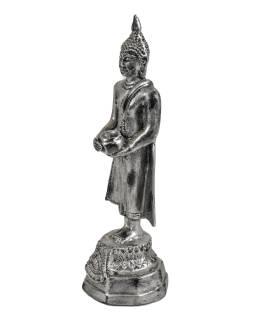 Narozeninový Buddha, středa, pryskyřice, stříbrná patina, 25cm
