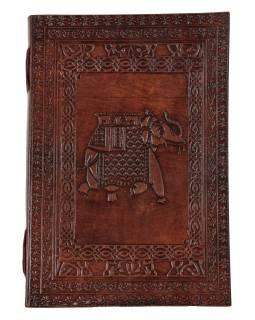 Notes v kožené vazbě, ruční papír, Slon, keltský znak, cca 18x25,5cm