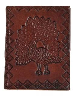 Notes v kožené vazbě, ruční papír, Páv, Mandala, cca 9,5x7,5cm
