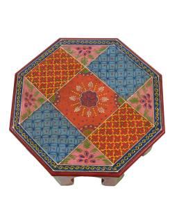 Čajový stolek z mangového dřeva ručně malovaný, 35x35x15cm