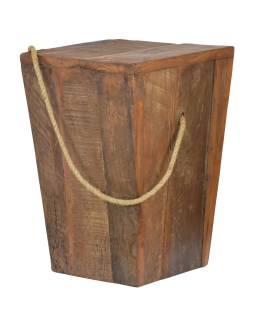 Stolička z teakového dřeva, madlo z provazu, 30x30x43cm