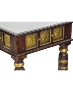 Konferenční stolek z palisandru zdobený mosazí, 90x60x45cm